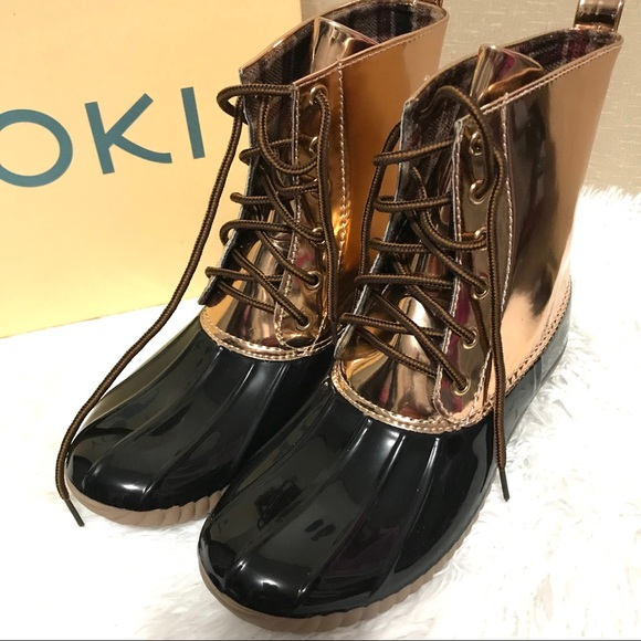 afd0b5c70c1b ✨New! Rose Gold   Black Rain Boots by Yoki